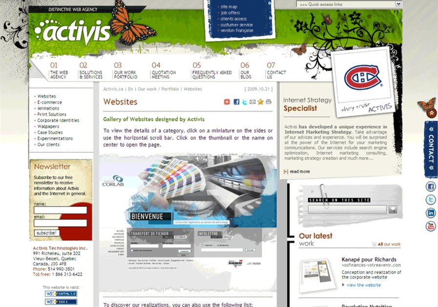 A great web design by Activis, Montreal, Canada: