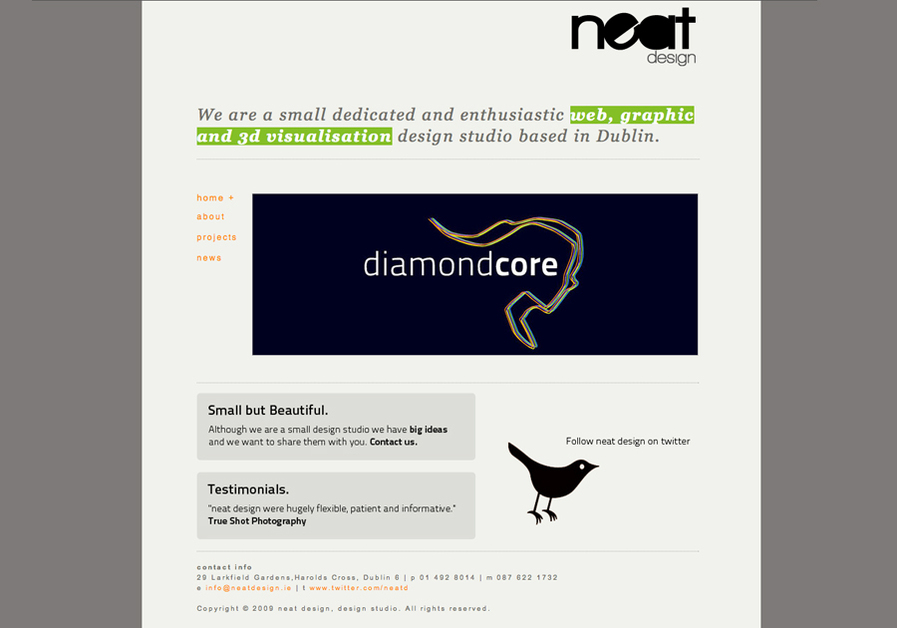 A great web design by neat design, Dublin, Ireland: