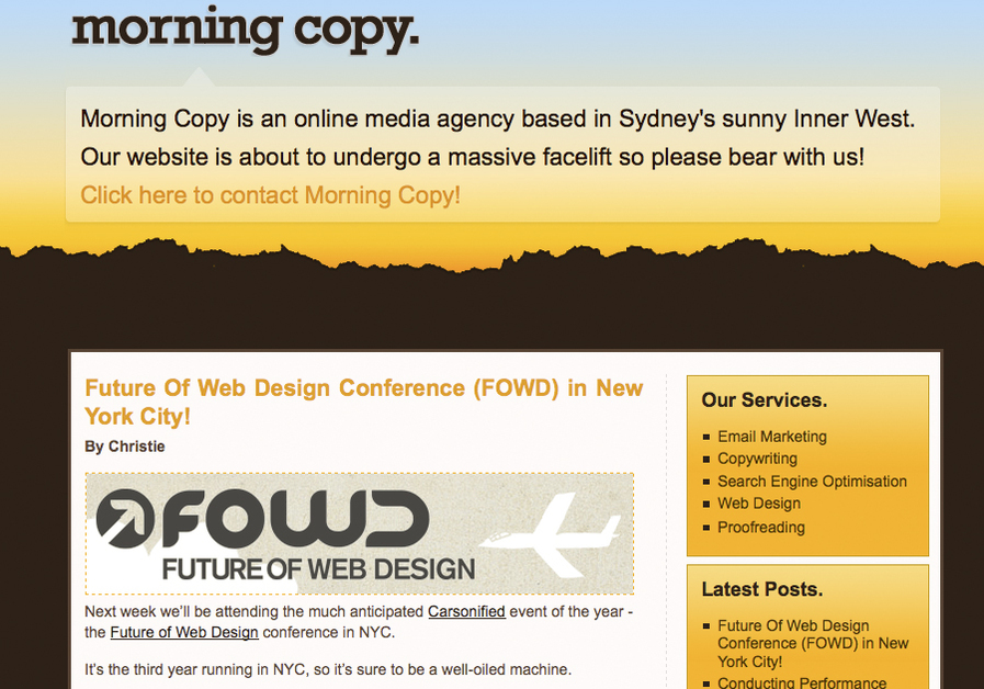 A great web design by Morning Copy, Sydney, Australia: