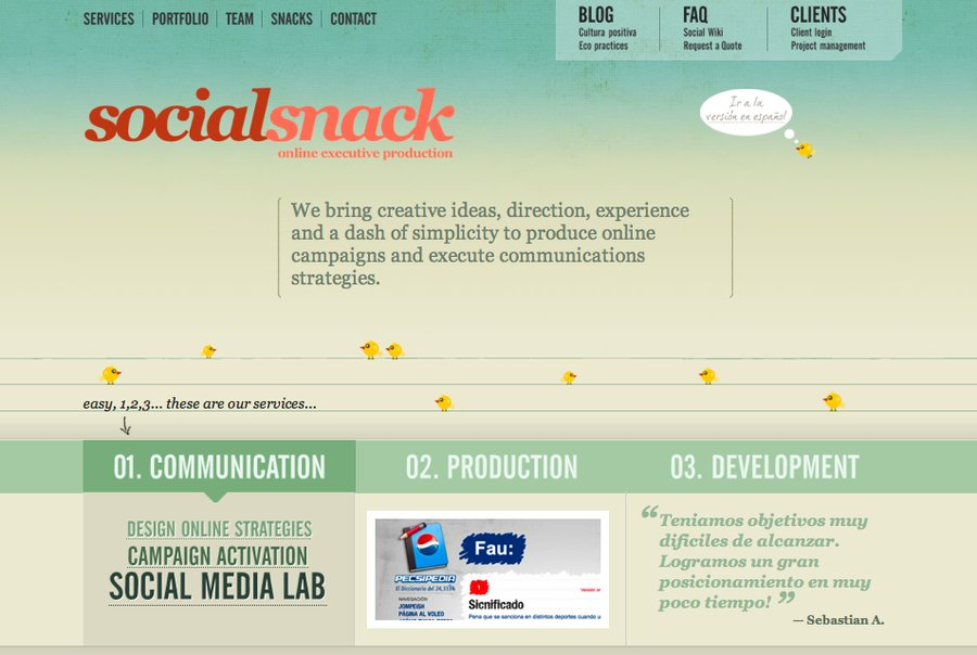 A great web design by SocialSnack, Buenos Aires, Argentina: