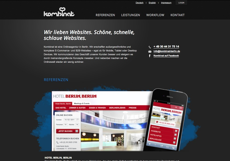 A great web design by Kombinat , Berlin, Germany: