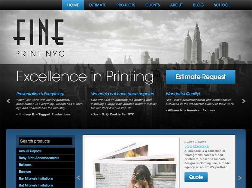 A great web design by Fine Print, Inc., New York, NY: