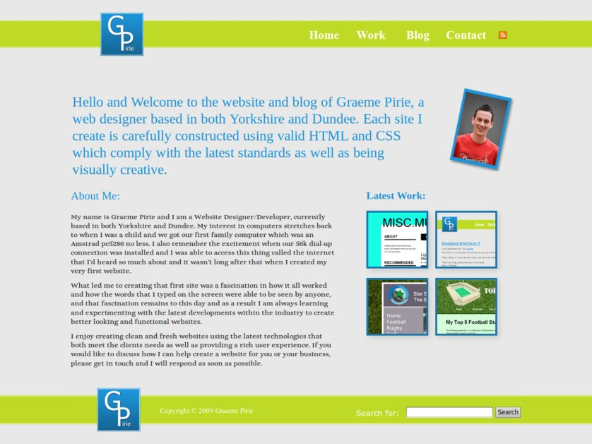 A great web design by Graeme Pirie, Leeds, United Kingdom: