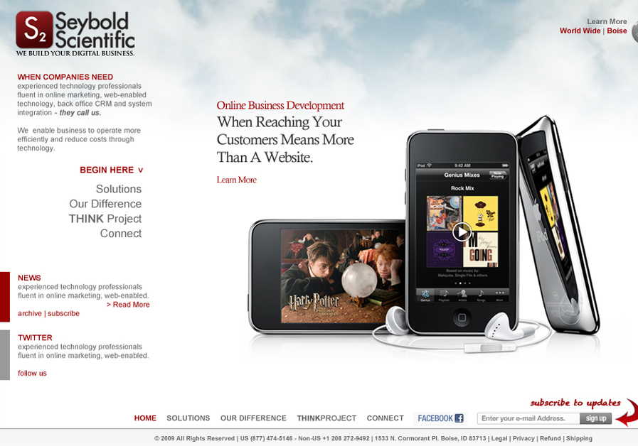 A great web design by Seybold Scientific, Boise, ID: