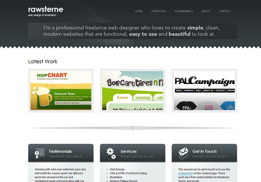 A great web design by John Rawsterne, Manchester, United Kingdom: