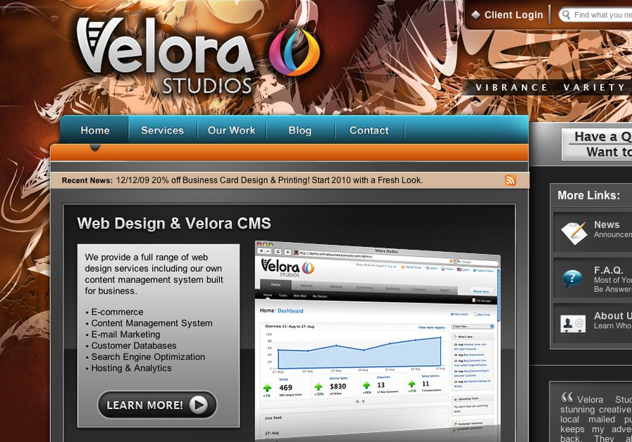 A great web design by Velora Studios, Philadelphia, PA: