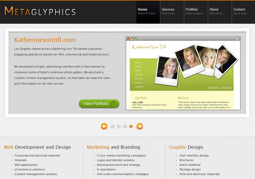 A great web design by Metaglyphics, Los Angeles, CA: