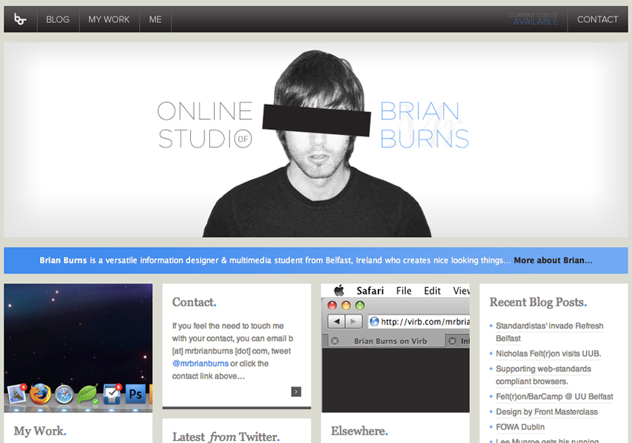 A great web design by Brian Burns, Belfast, United Kingdom: