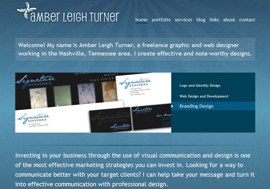 A great web design by Amber Leigh Turner Design, Nashville, TN: