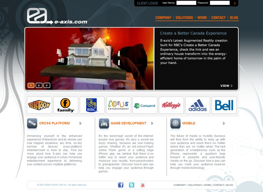 A great web design by E-axis, Toronto, Canada: