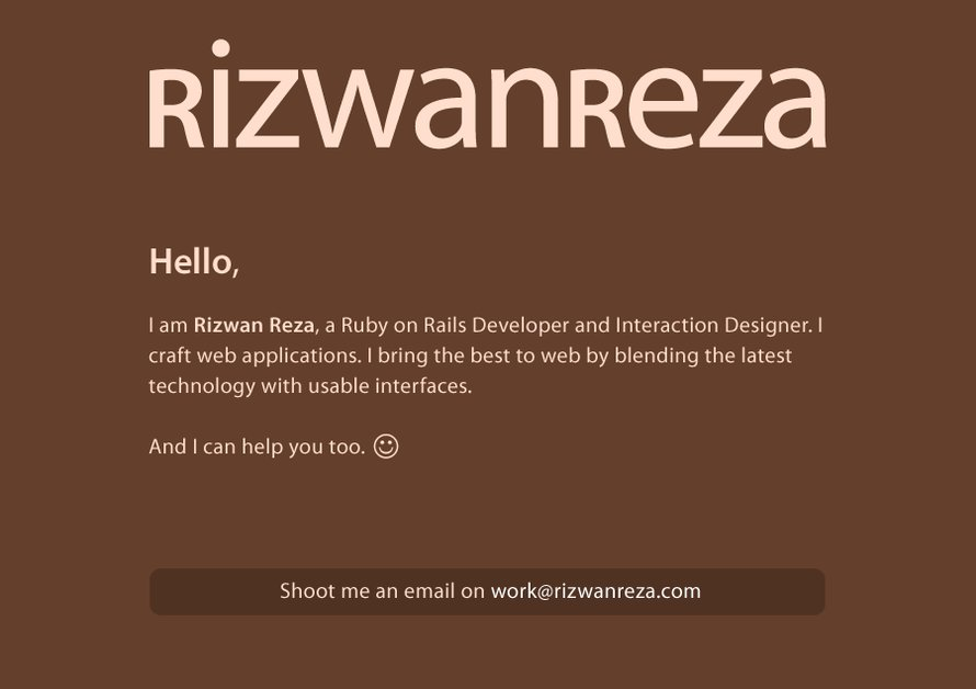 A great web design by Rizwan Reza, Jeddah, Saudi Arabia: