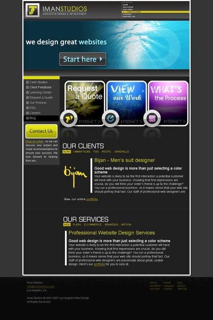 A great web design by Iman Studios, Los Angeles, CA: