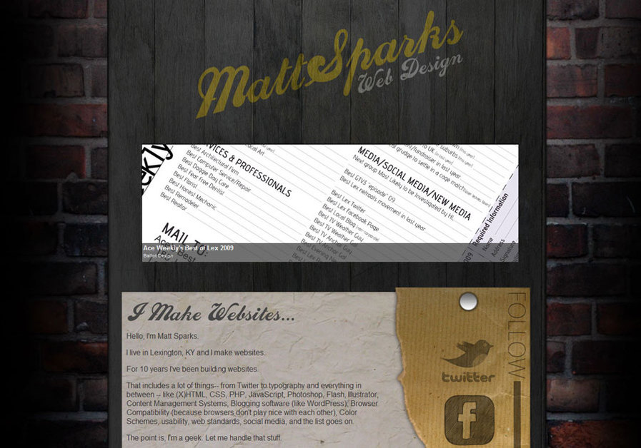 A great web design by Matt Sparks, Lexington, KY: