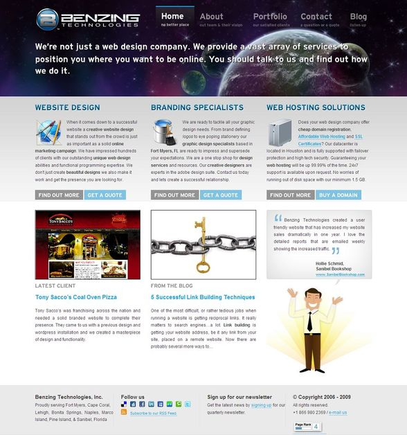 A great web design by Benzing Technologies, Miami, FL: