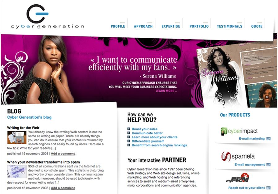A great web design by Cyber Génération, Montreal, Canada: