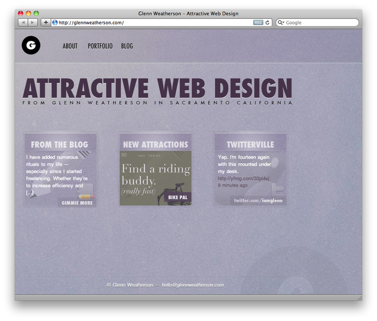 A great web design by Glenn Weatherson, Sacramento, CA: