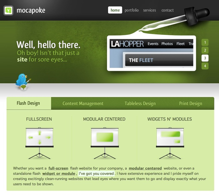 A great web design by Mocapoke Media, Los Angeles, CA: