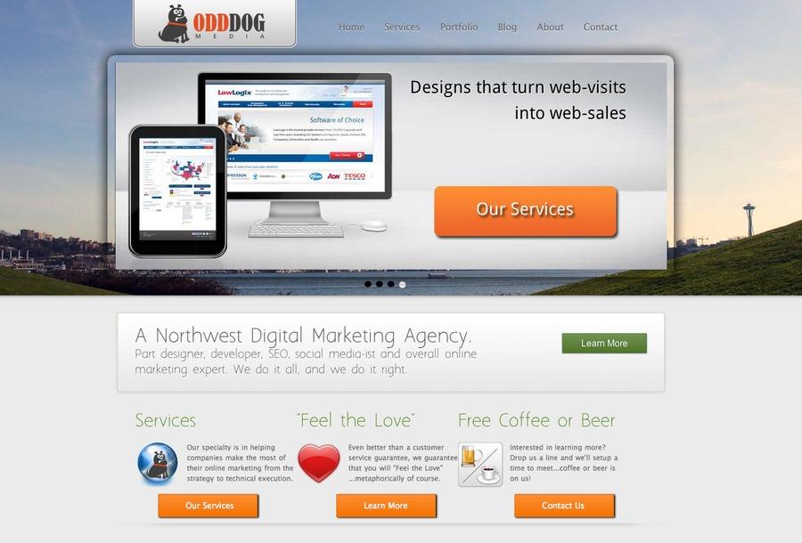 A great web design by OddDog Media, Seattle, WA:
