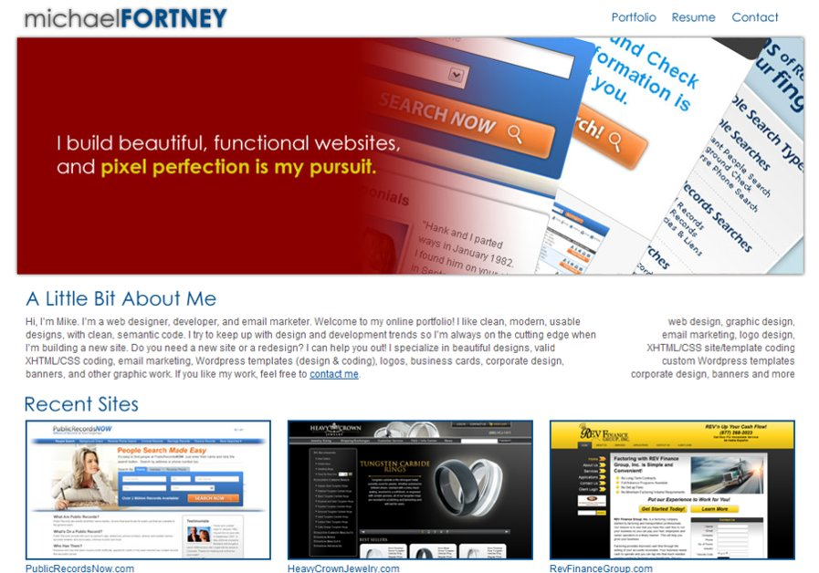 A great web design by Michael Fortney, Los Angeles, CA: