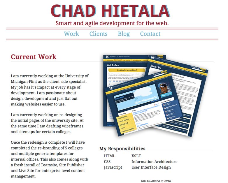 A great web design by Chad Hietala, Ann Arbor, MI: