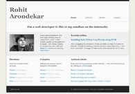 A great web design by Rohit Arondekar, Goa, India: