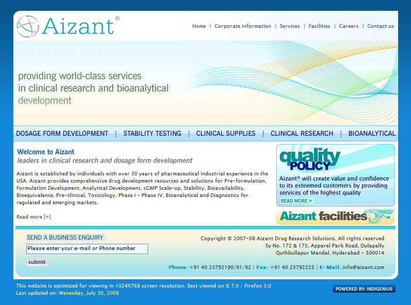 A great web design by Indigenius Solutions, Hyderabad, India: