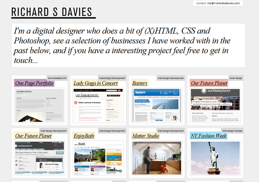 A great web design by Richard S Davies, Bath, United Kingdom: