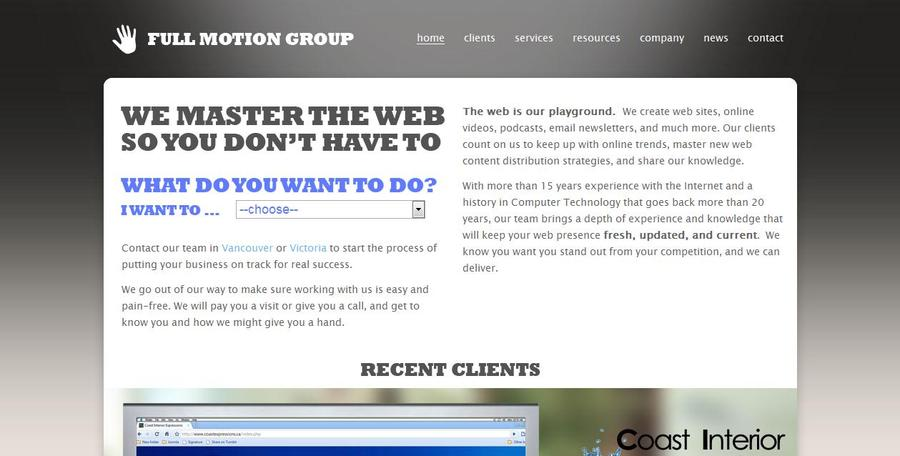 A great web design by Full Motion Group, Vancouver, Canada: