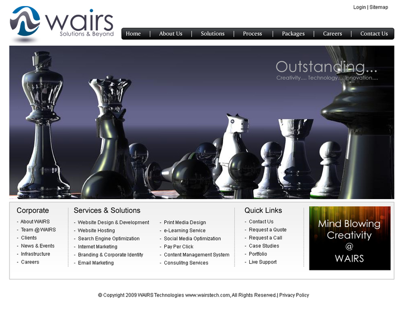 A great web design by Wairs Technologies, Cochin, India: