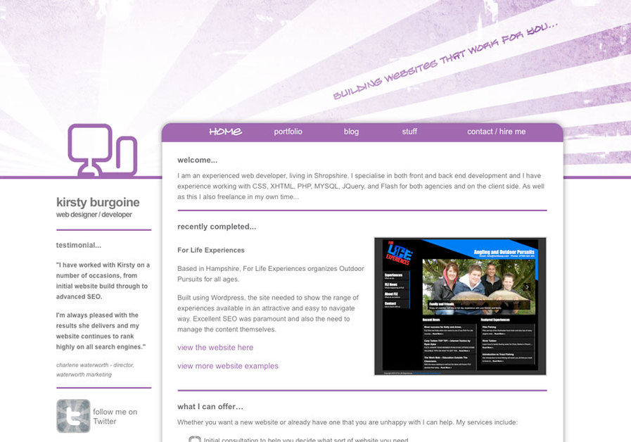 A great web design by Kirsty Burgoine, Birmingham, United Kingdom: