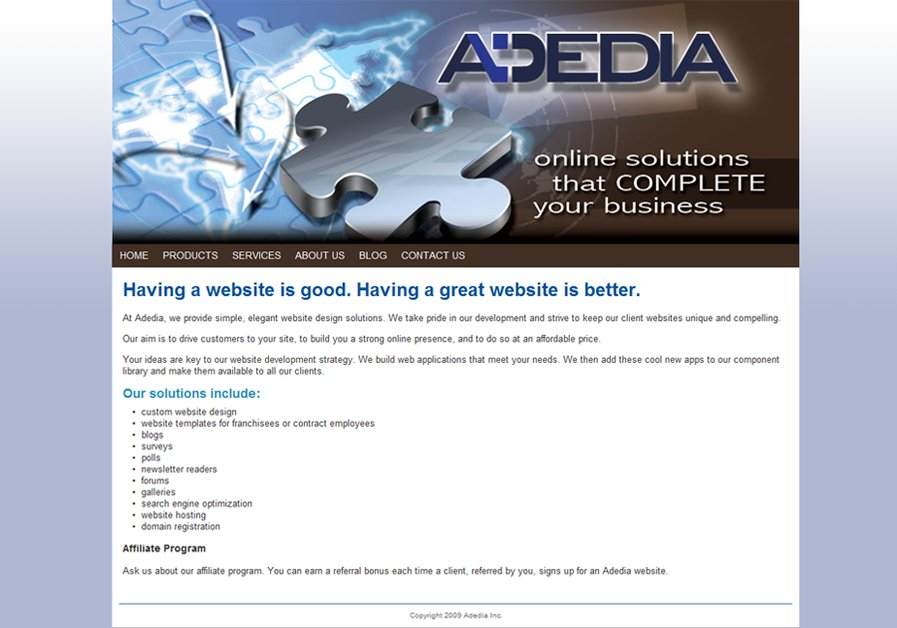 A great web design by Adedia Inc., Victoria, Canada: