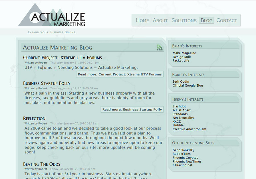 A great web design by Actualize Marketing, Phoenix, AZ: