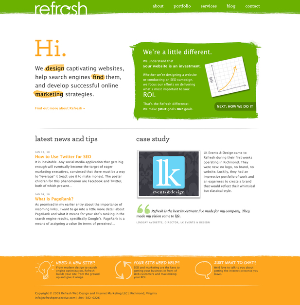 A great web design by Refresh Web Design and Internet Marketing, Richmond, VA: