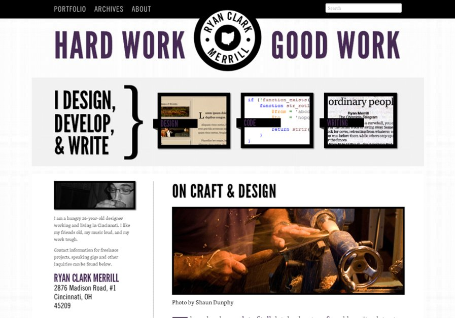 A great web design by Ryan Merrill Design, Cincinnati, OH: