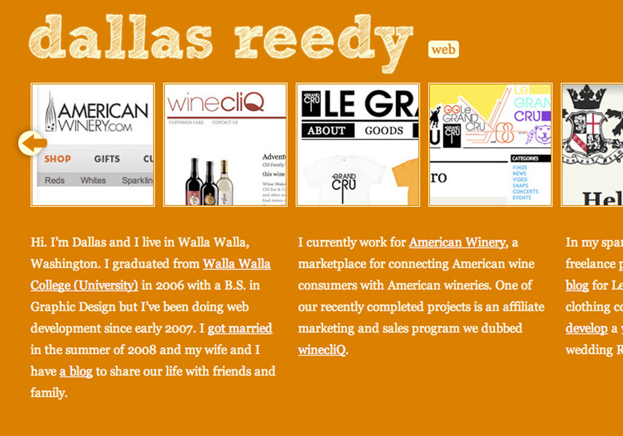 A great web design by Dallas Reedy, Walla Walla, WA: