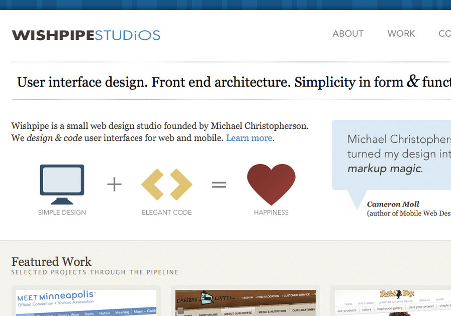 A great web design by Wishpipe Studios, Minneapolis, MN: