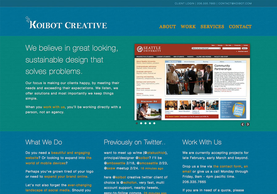 A great web design by Koibot Creative, LLC, Seattle, WA: