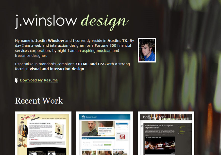A great web design by j. winslow design | Justin Winslow, Austin, TX: