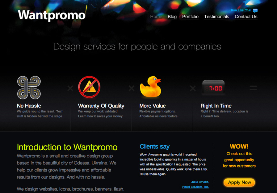 A great web design by Wantpromo.com, Odessa, Ukraine: