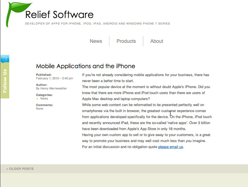 A great web design by Relief Software, Glasgow, United Kingdom: