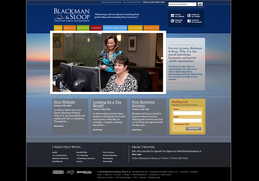 A great web design by Kompleks Creative, Inc., Raleigh, NC: