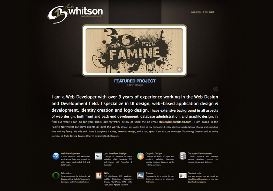 A great web design by Luke Whitson, Eugene, OR: