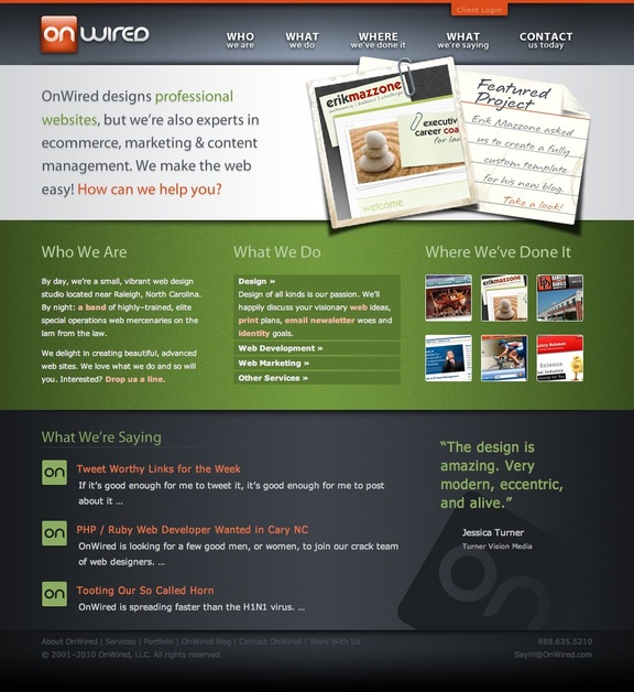 A great web design by OnWired, Raleigh, NC: