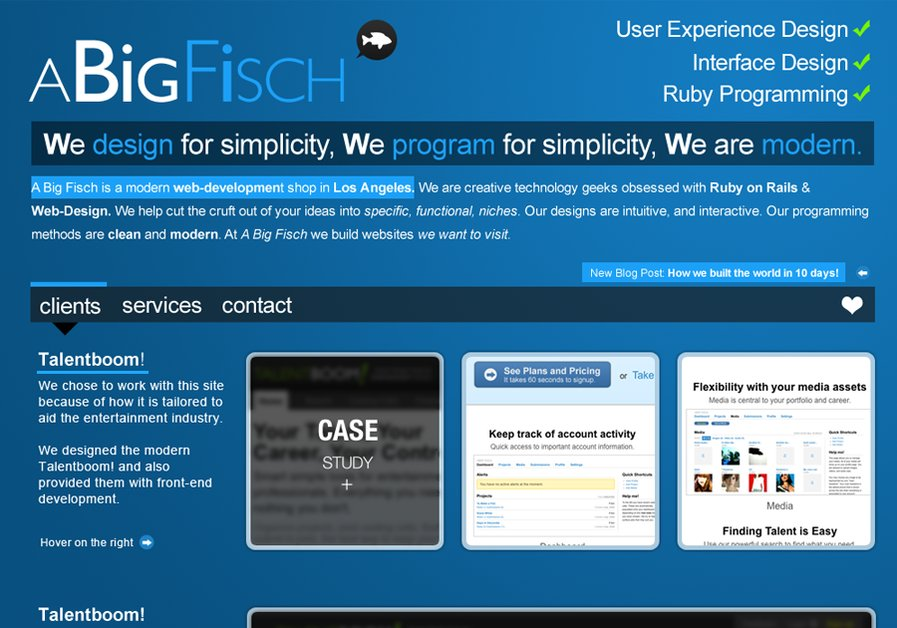 A great web design by A Big Fisch, Los Angeles, CA: