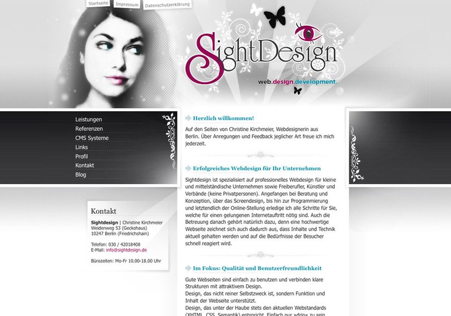 A great web design by Sightdesign Christine Kirchmeier, Berlin, Germany: