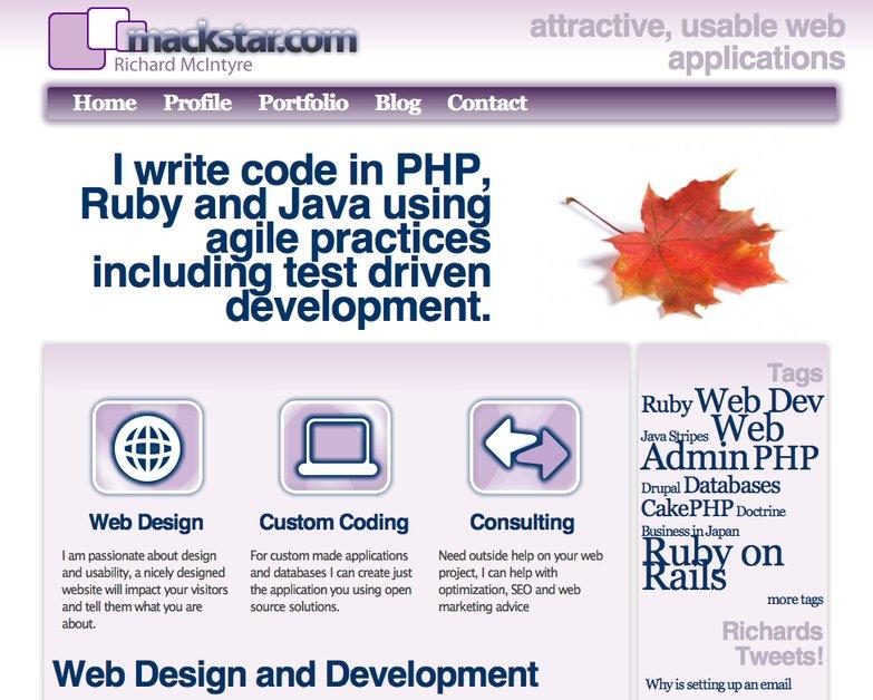 A great web design by Mackstar - Richard McIntyre, Kansai, Japan: