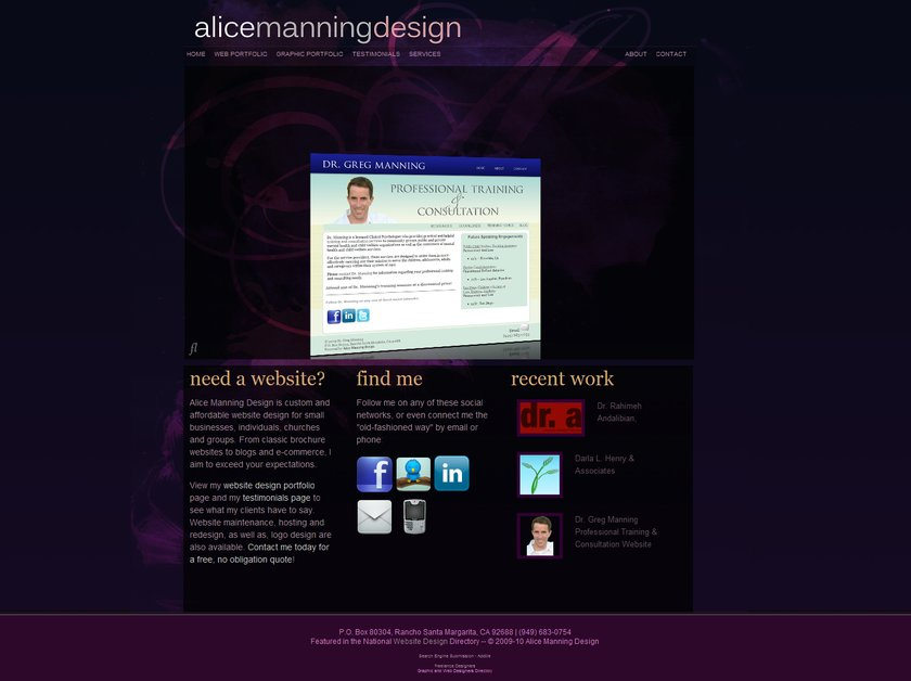 A great web design by Alice Manning Design, Irvine, CA: