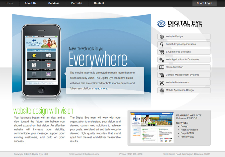 A great web design by Digital Eye Website Development, Wilmington, DE:
