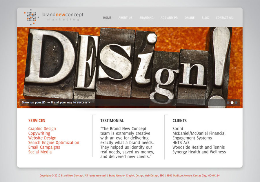 A great web design by Brand New Concept, Kansas City, MO: