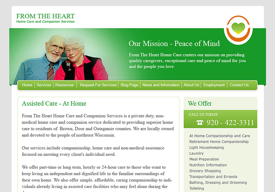 A great web design by Ping Studios, Green Bay, WI: